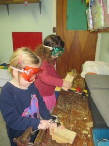 Girls woodworking
